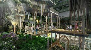 """Phối cảnh vườn nhiệt đới theo chủ đề """"Khám phá rừng xanh"""" hứa hẹn mang đến trải nghiệm phiêu lưu thú vị, nhất là cho trẻ em."""